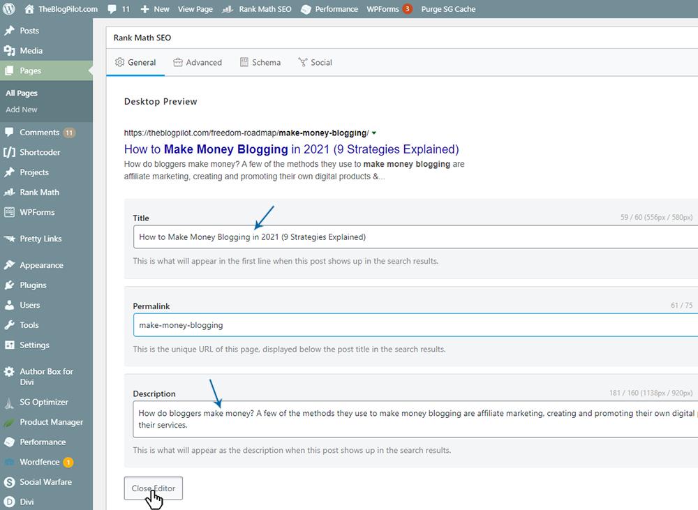WordPress - RankMath Add Title and Description into the Edit box