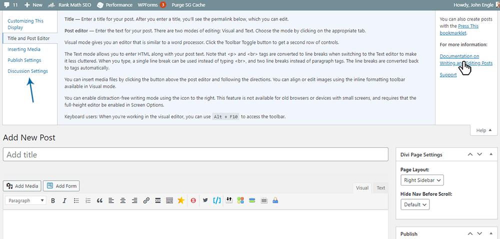 WordPress Posts Edit Box - Help Screen
