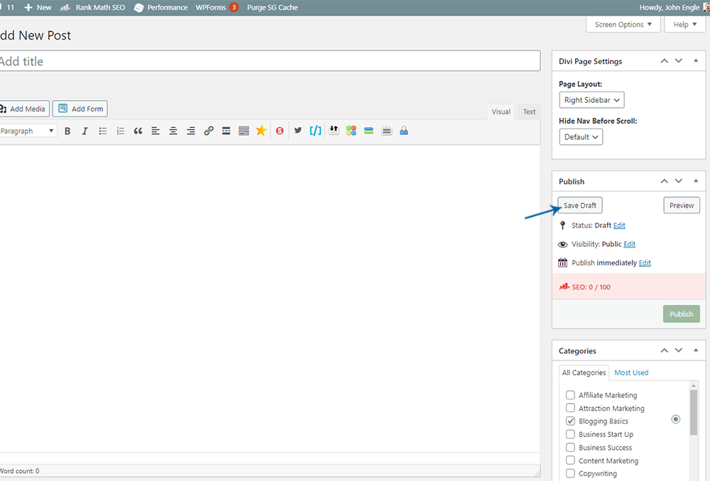 WordPress Posts Edit Box - Save Draft button