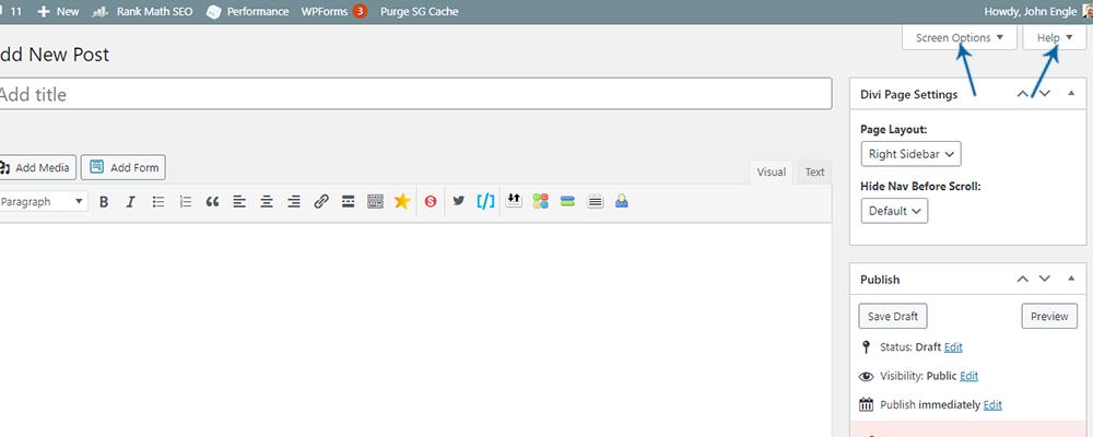 WordPress Posts Edit Box - Screen Options and Help Tab
